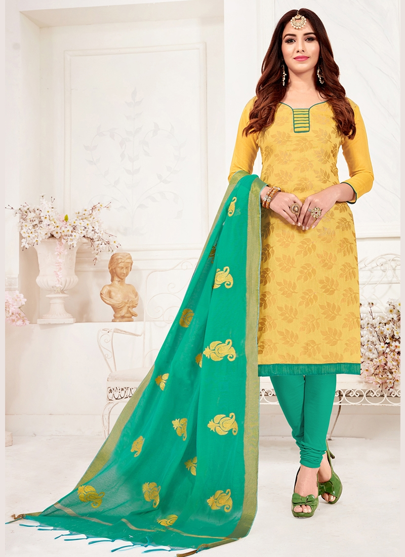 Yellow Jacquard Silk Churidar Suit