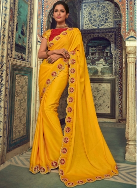 Yellow Reception Georgette Silk Saree