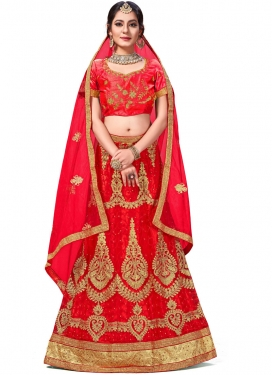 Zari Net Trendy Lehenga Choli in Red