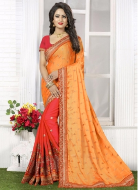 Zesty Embroidered Work Crepe Silk Gold and Tomato Half N Half Trendy Saree